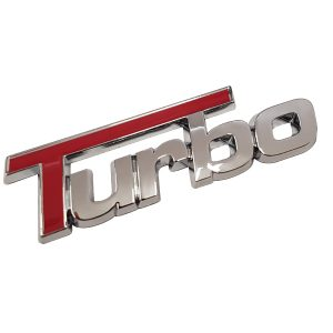 3D Turbo Car Badge with Red Inlay